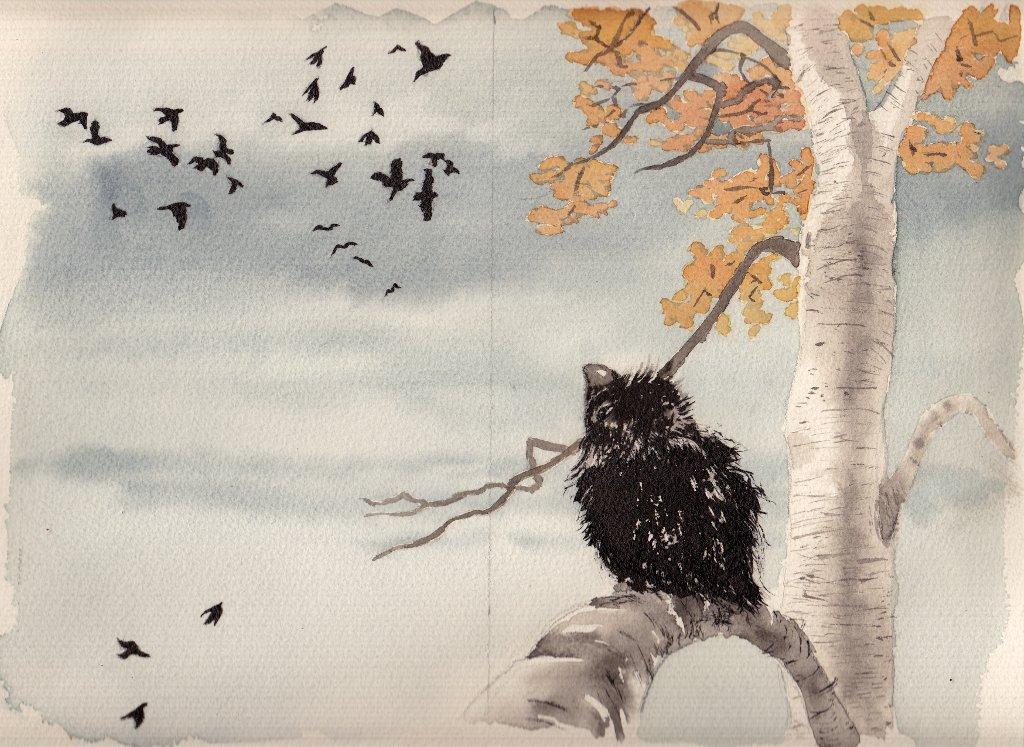 Come Crock. Questa è la prima illustrazione della storia. Crok è isolato e guarda gli altri corvi.